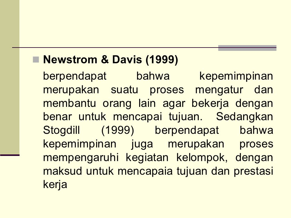 Newstrom & Davis (1999)