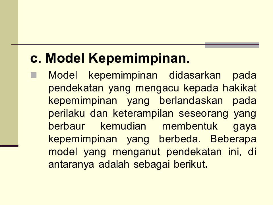 c. Model Kepemimpinan.