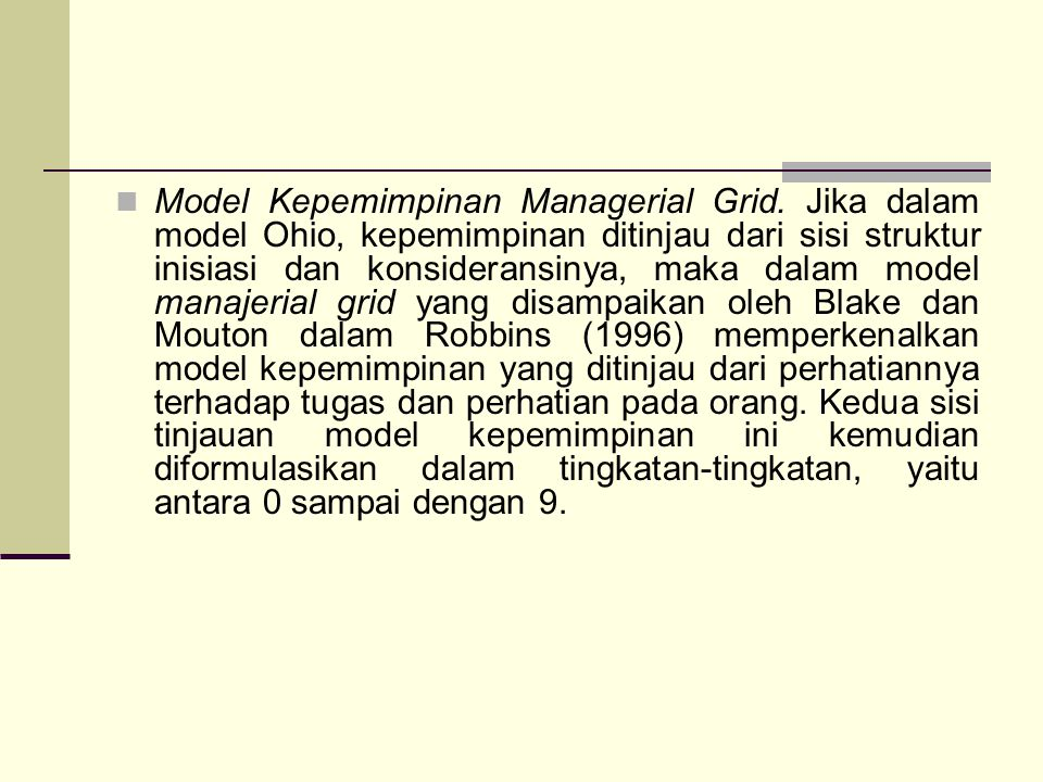 Model Kepemimpinan Managerial Grid
