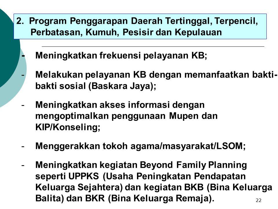 - Meningkatkan frekuensi pelayanan KB;
