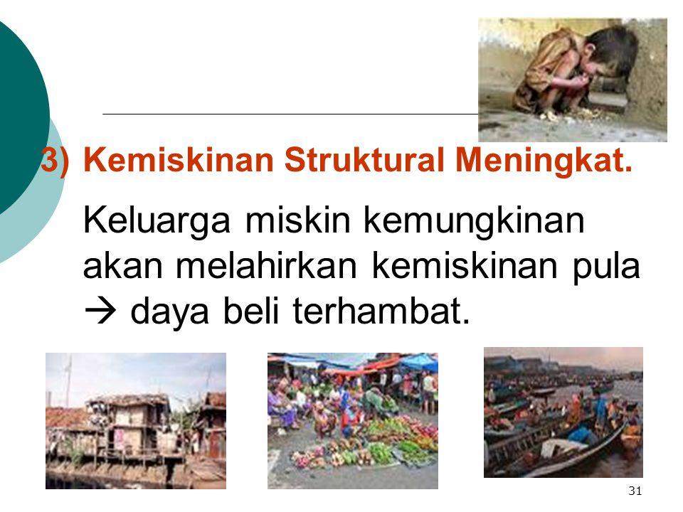 3) Kemiskinan Struktural Meningkat.