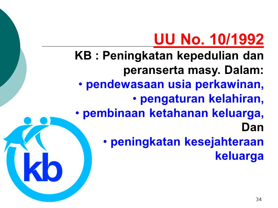 UU No. 10/1992 KB : Peningkatan kepedulian dan peranserta masy. Dalam: