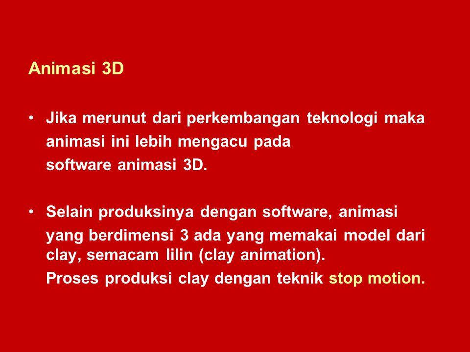 Animasi 3D Jika merunut dari perkembangan teknologi maka