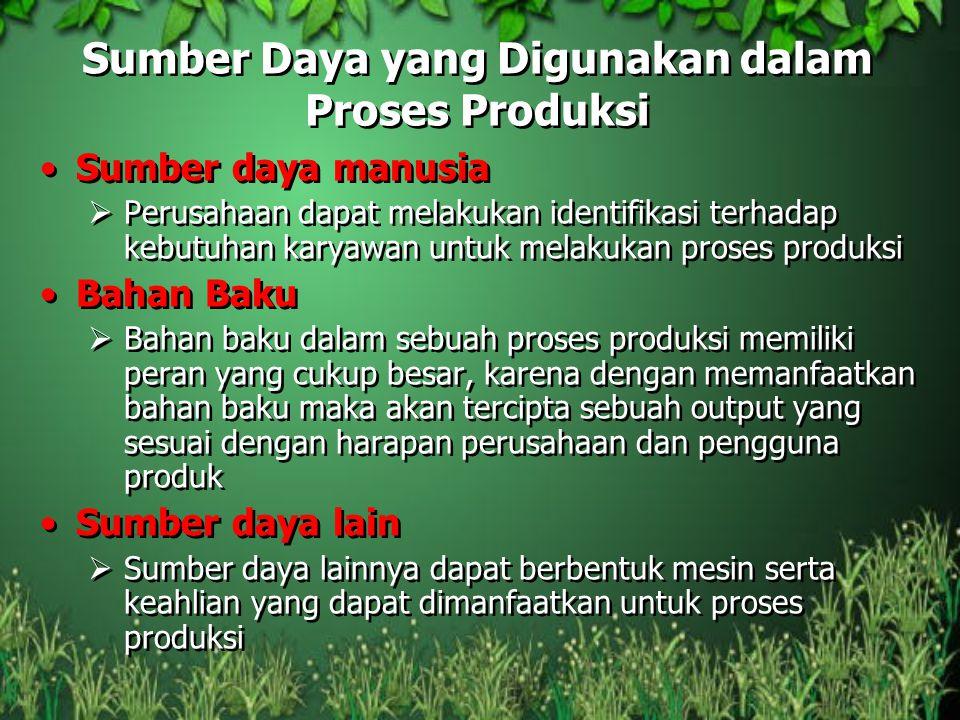 Sumber Daya yang Digunakan dalam Proses Produksi