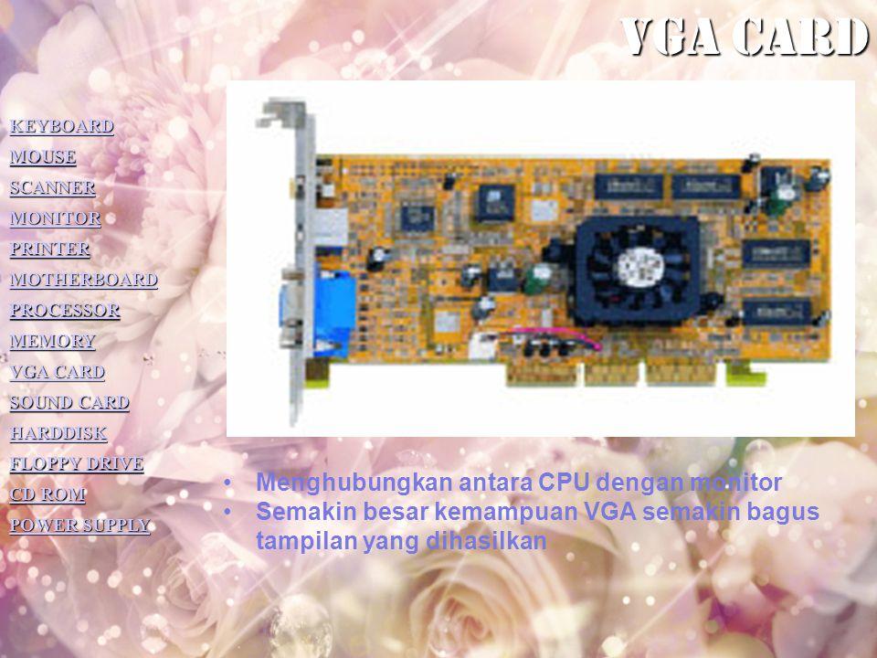 Vga card Menghubungkan antara CPU dengan monitor
