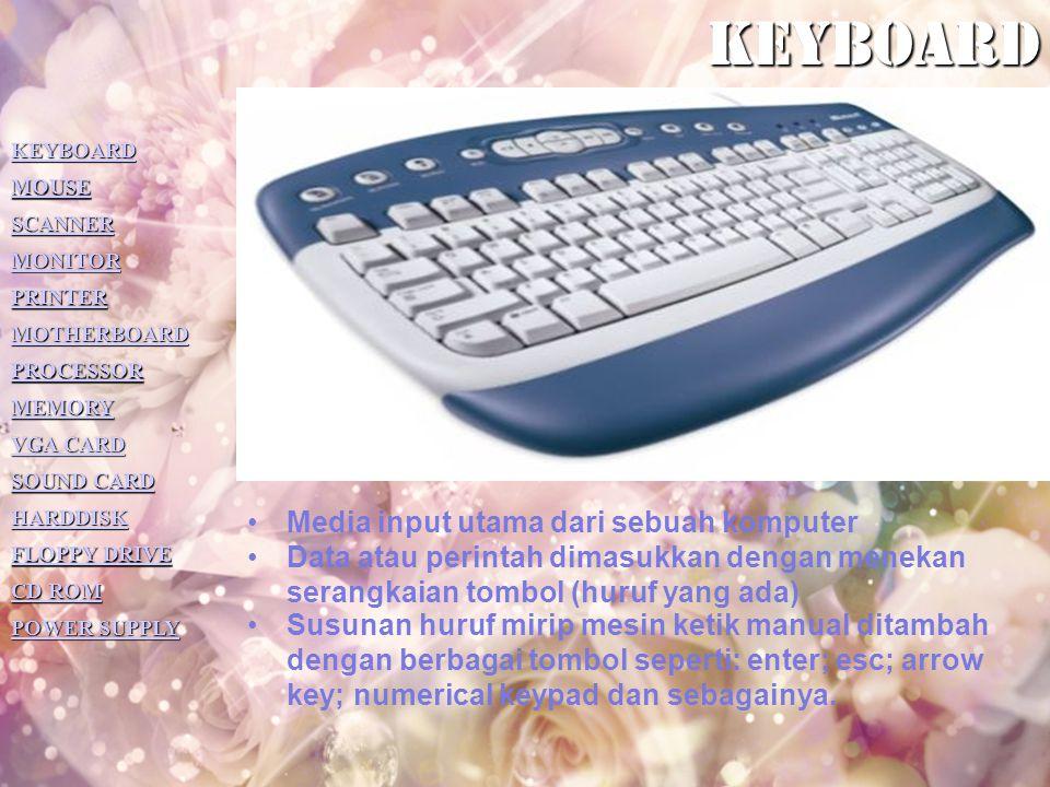 KEYBOARD Media input utama dari sebuah komputer