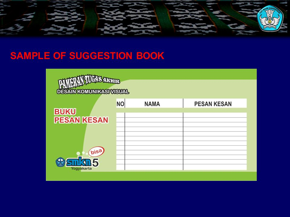 SAMPLE OF SUGGESTION BOOK