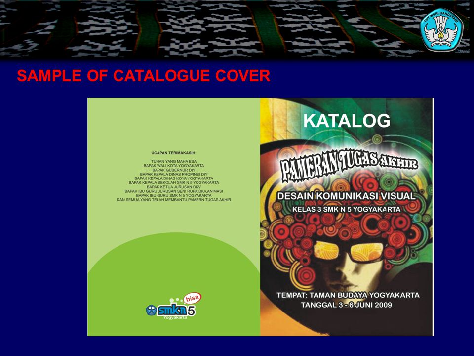 SAMPLE OF CATALOGUE COVER