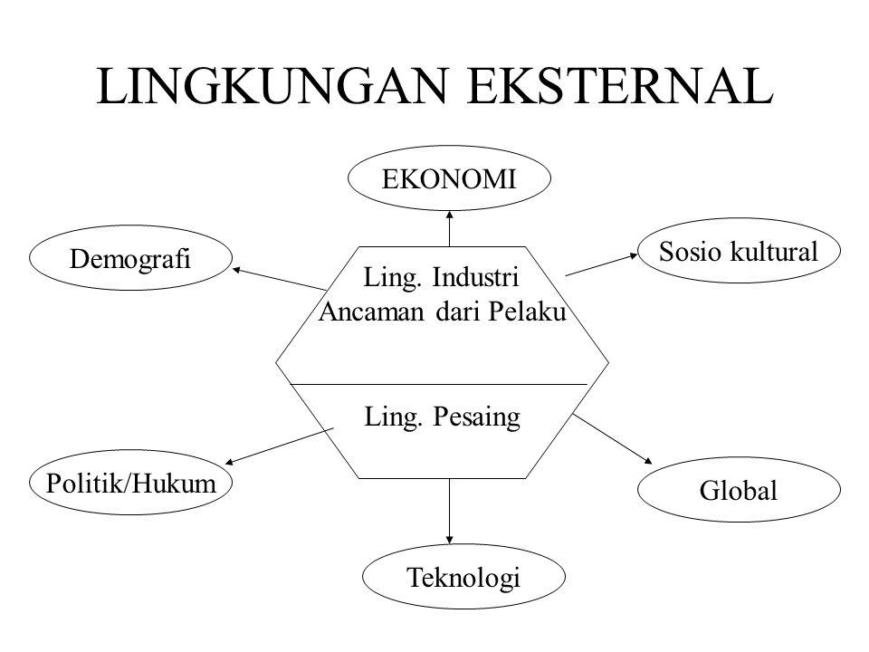 LINGKUNGAN EKSTERNAL EKONOMI Sosio kultural Demografi Ling. Industri