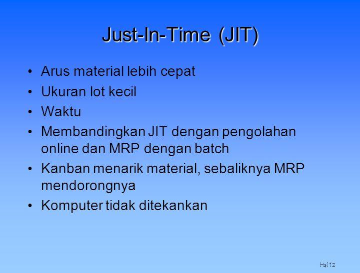 Just-In-Time (JIT) Arus material lebih cepat Ukuran lot kecil Waktu