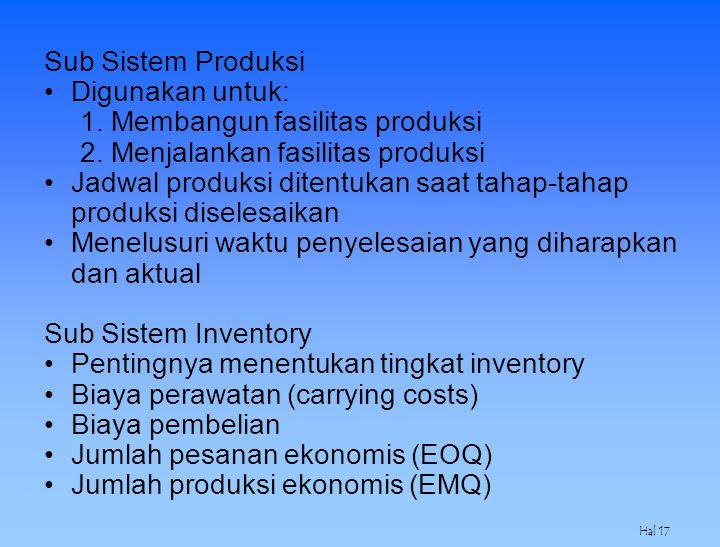 1. Membangun fasilitas produksi 2. Menjalankan fasilitas produksi