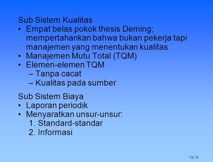 Manajemen Mutu Total (TQM) Elemen-elemen TQM Tanpa cacat
