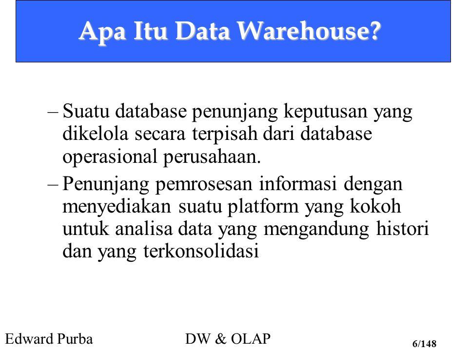 Apa Itu Data Warehouse Suatu database penunjang keputusan yang dikelola secara terpisah dari database operasional perusahaan.