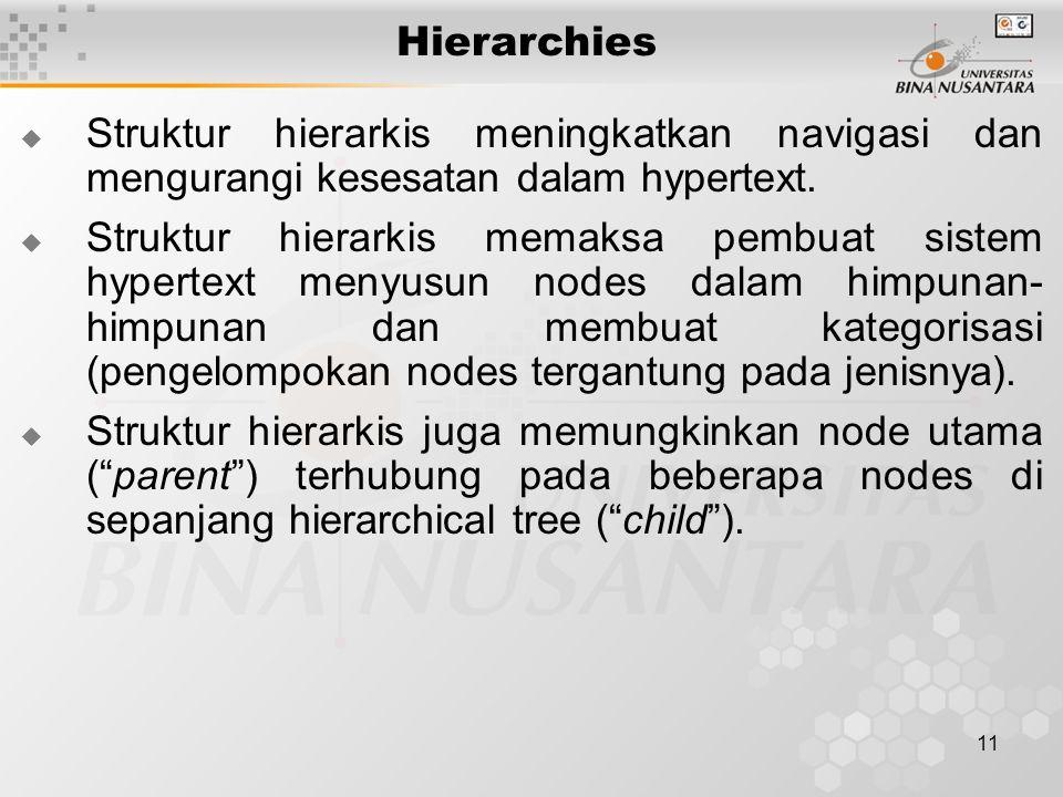 Hierarchies Struktur hierarkis meningkatkan navigasi dan mengurangi kesesatan dalam hypertext.