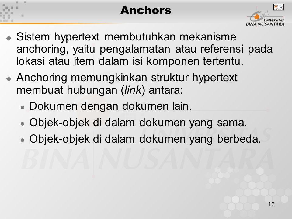 Anchors Sistem hypertext membutuhkan mekanisme anchoring, yaitu pengalamatan atau referensi pada lokasi atau item dalam isi komponen tertentu.