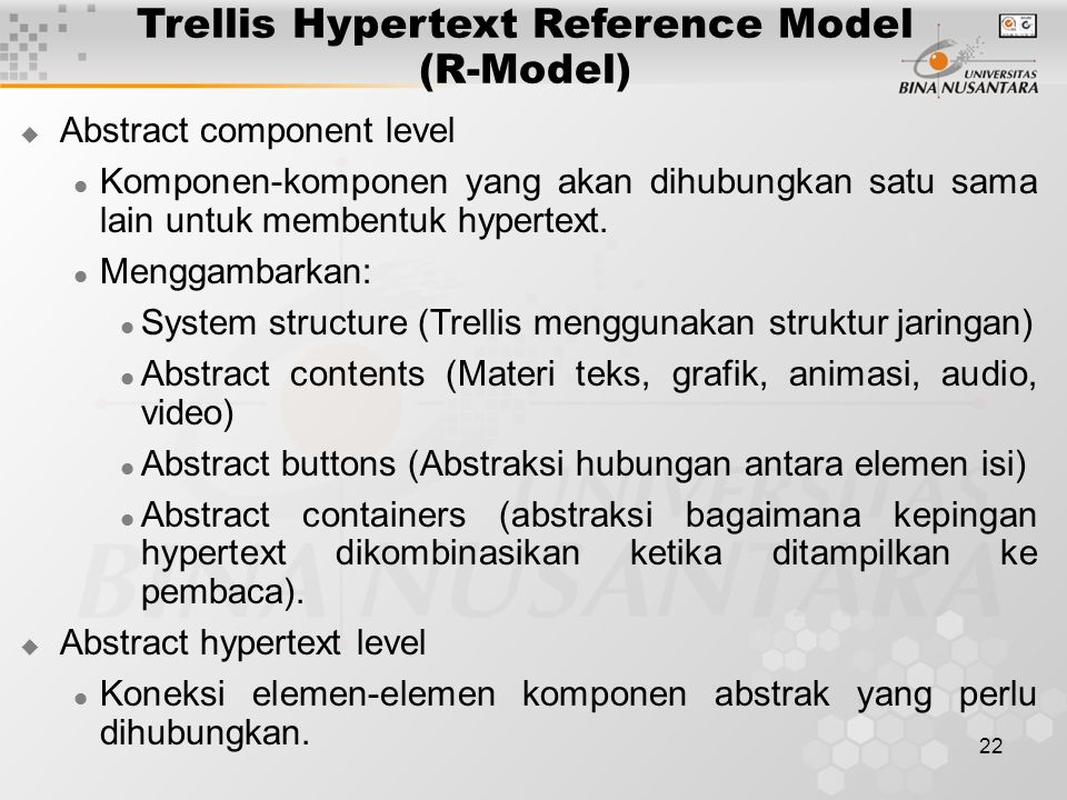 Trellis Hypertext Reference Model