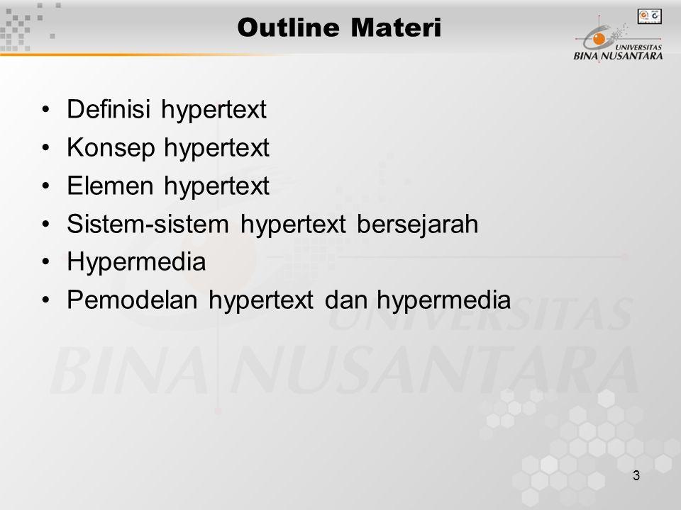 Outline Materi Definisi hypertext. Konsep hypertext. Elemen hypertext. Sistem-sistem hypertext bersejarah.