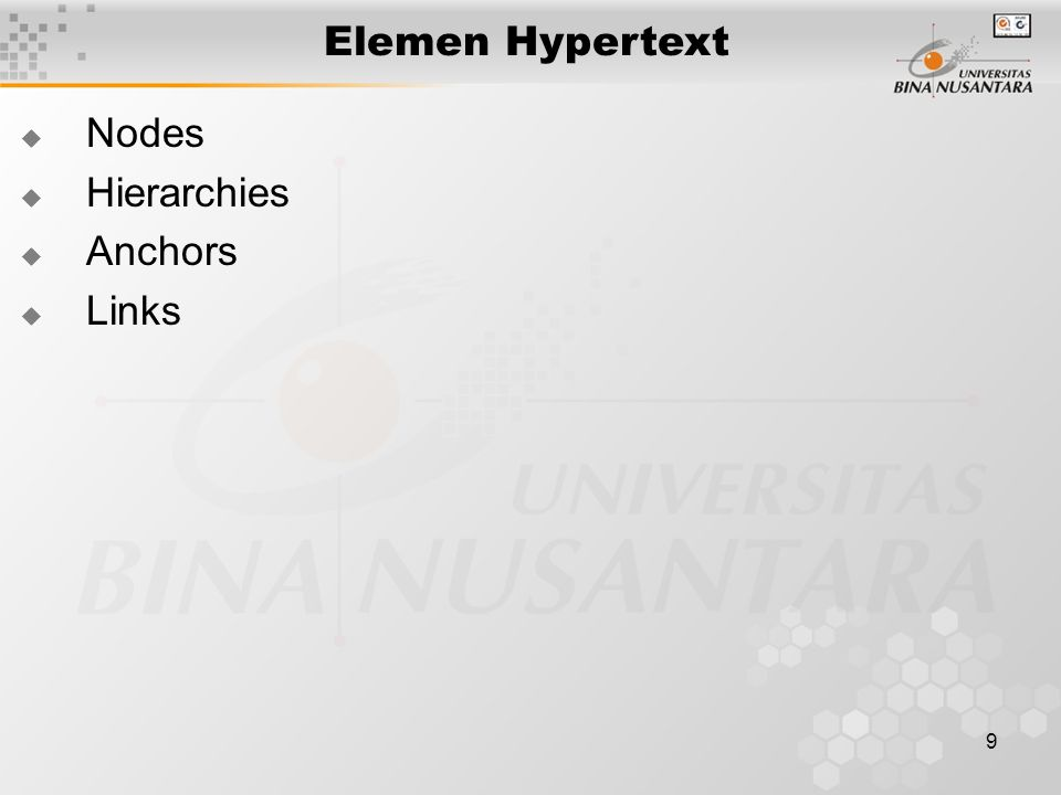 Elemen Hypertext Nodes Hierarchies Anchors Links