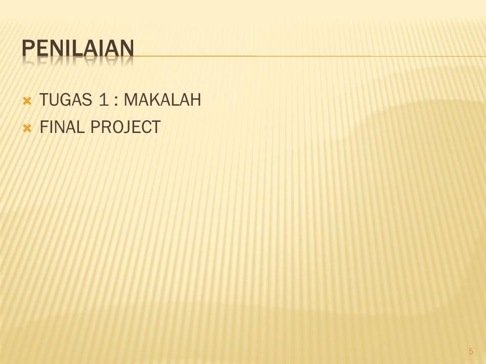 PENILAIAN TUGAS 1 : MAKALAH FINAL PROJECT