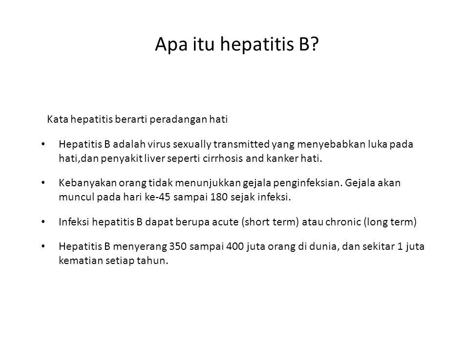 Apa itu hepatitis B Kata hepatitis berarti peradangan hati