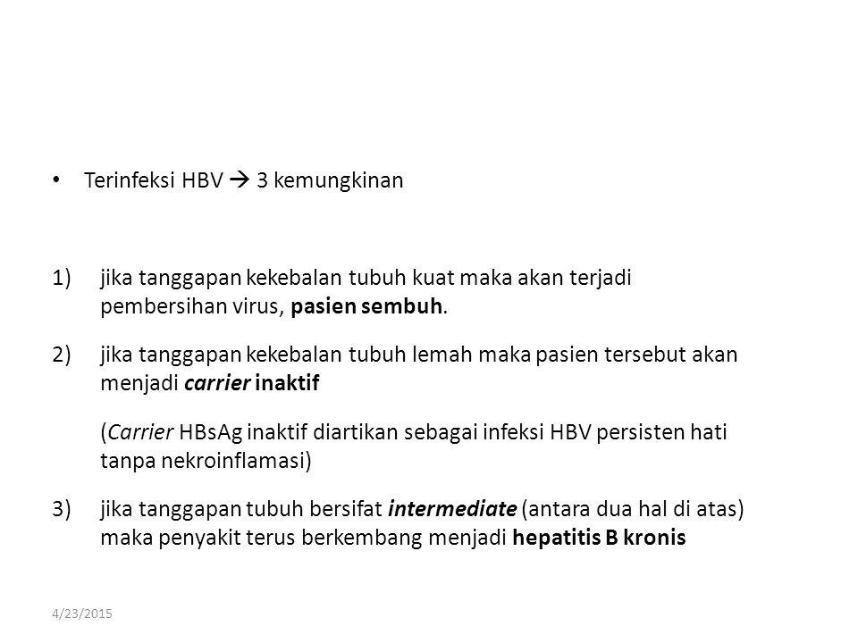 Terinfeksi HBV  3 kemungkinan