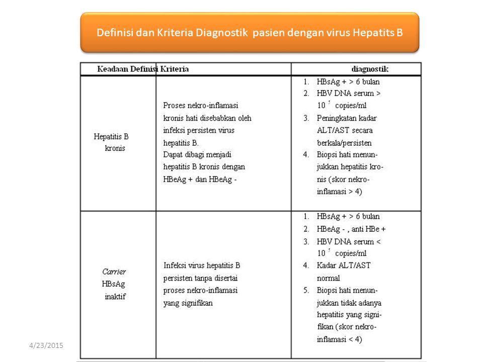 Definisi dan Kriteria Diagnostik pasien dengan virus Hepatits B