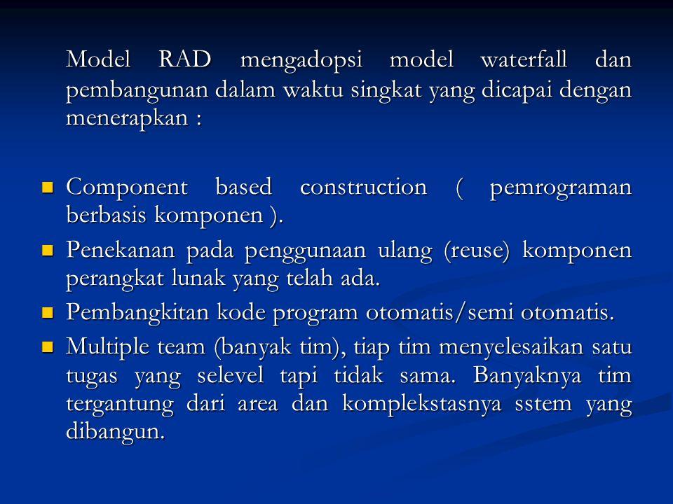 Model RAD mengadopsi model waterfall dan pembangunan dalam waktu singkat yang dicapai dengan menerapkan :