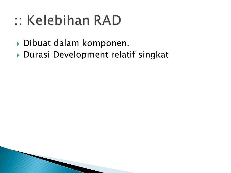 :: Kelebihan RAD Dibuat dalam komponen.