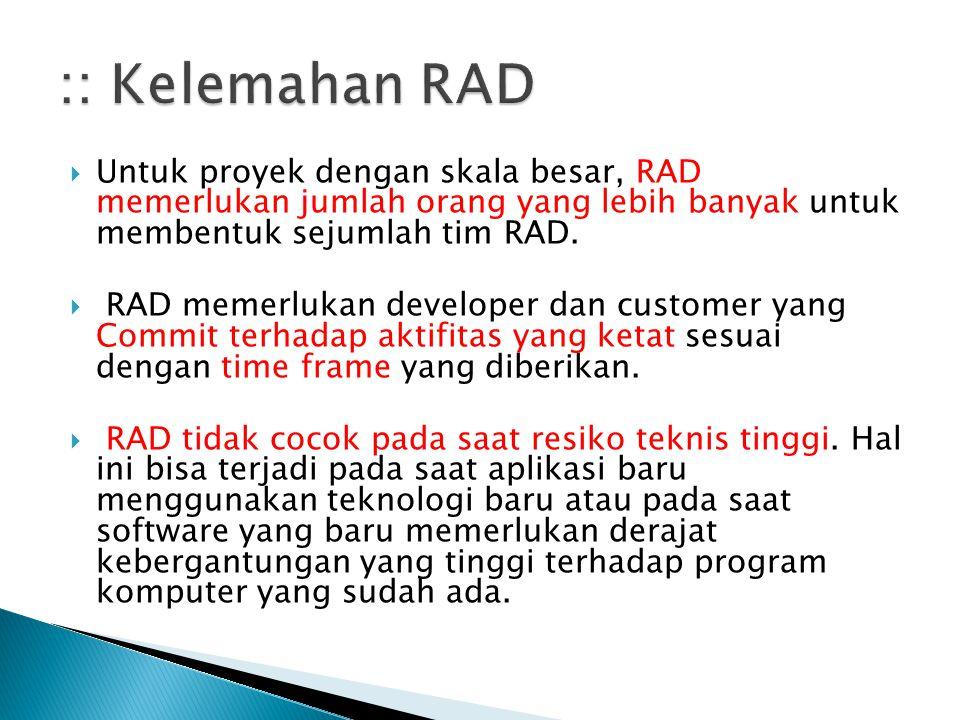:: Kelemahan RAD Untuk proyek dengan skala besar, RAD memerlukan jumlah orang yang lebih banyak untuk membentuk sejumlah tim RAD.