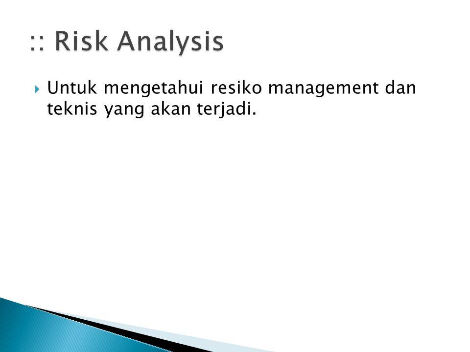 :: Risk Analysis Untuk mengetahui resiko management dan teknis yang akan terjadi.