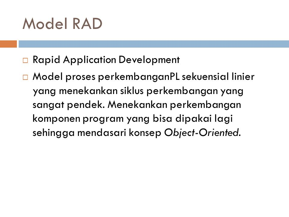 Model RAD Rapid Application Development