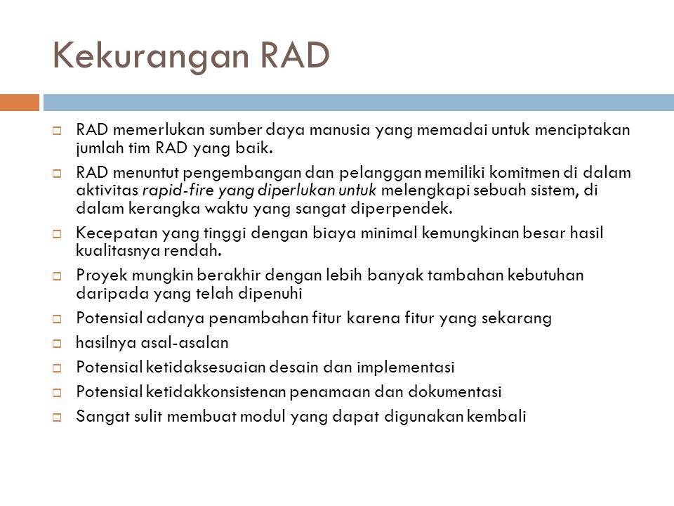 Kekurangan RAD RAD memerlukan sumber daya manusia yang memadai untuk menciptakan jumlah tim RAD yang baik.