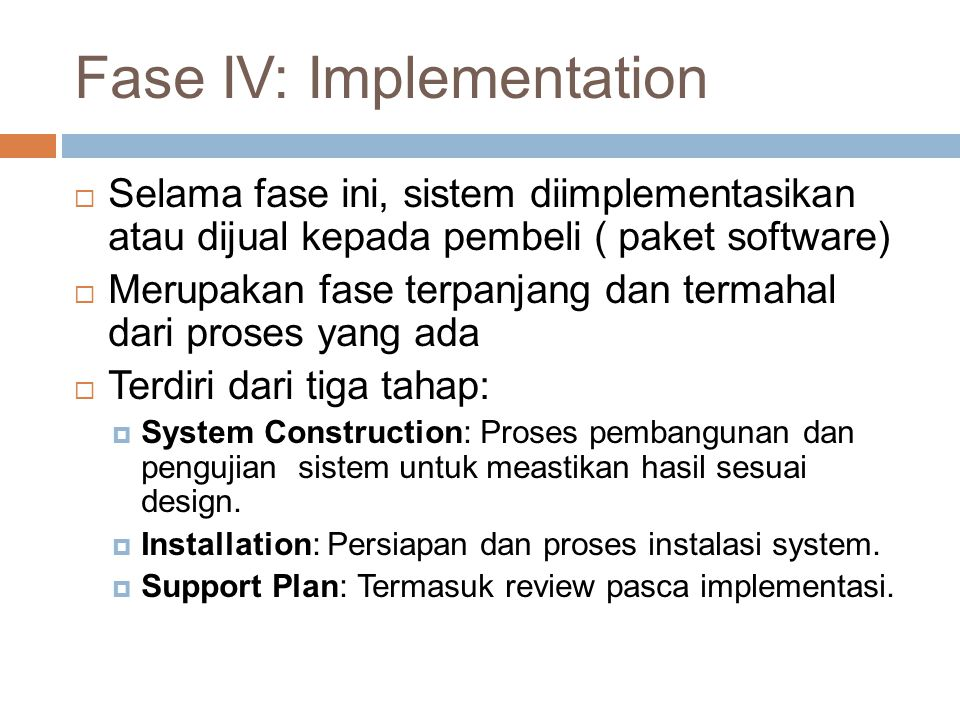 Fase IV: Implementation