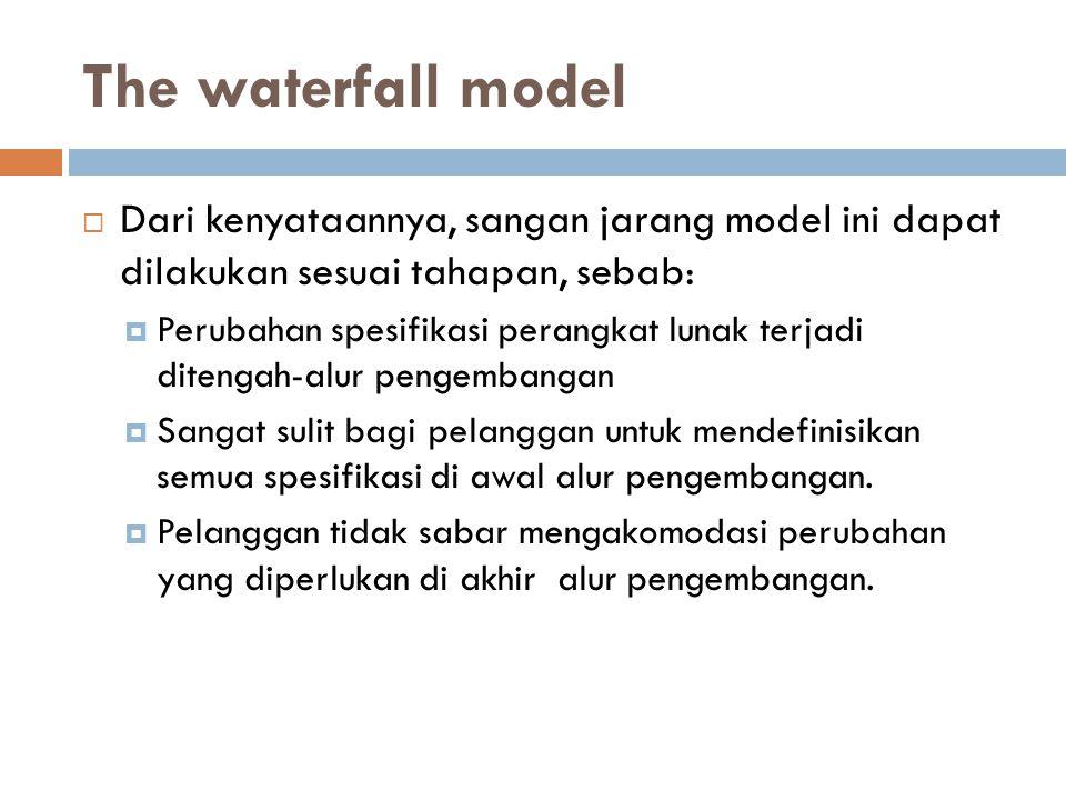 The waterfall model Dari kenyataannya, sangan jarang model ini dapat dilakukan sesuai tahapan, sebab: