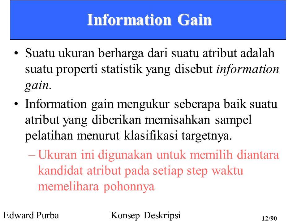 Information Gain Suatu ukuran berharga dari suatu atribut adalah suatu properti statistik yang disebut information gain.
