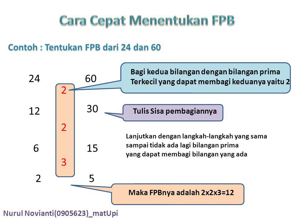 Cara Cepat Menentukan FPB Contoh : Tentukan FPB dari 24 dan 60