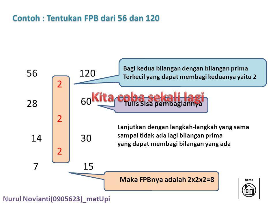 Contoh : Tentukan FPB dari 56 dan 120