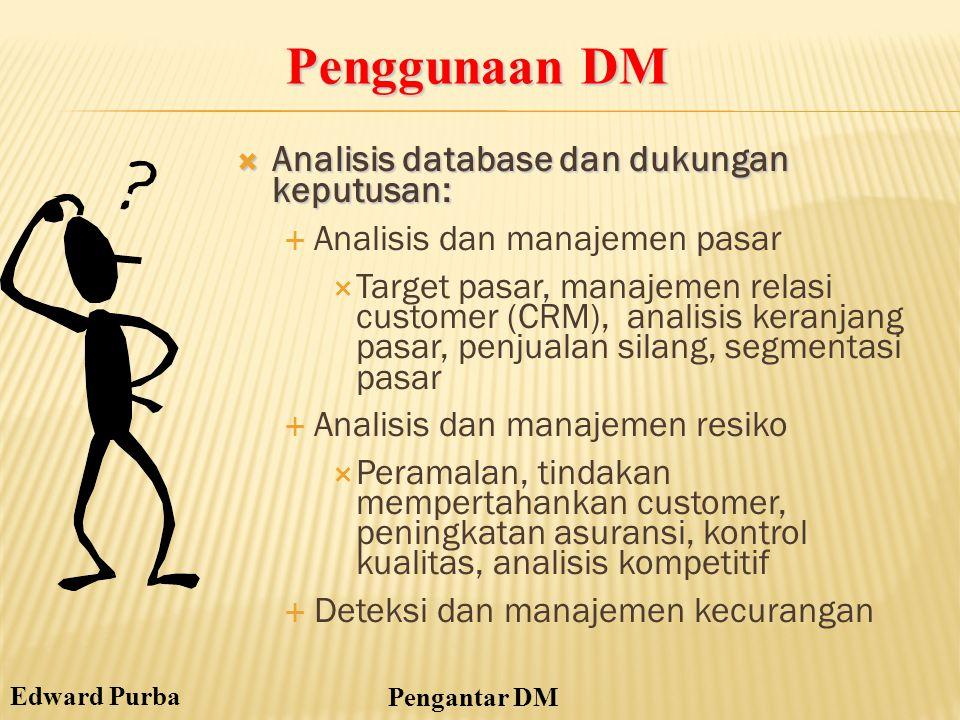 Penggunaan DM Analisis database dan dukungan keputusan: