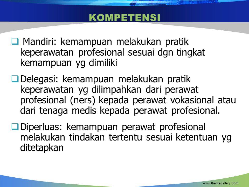KOMPETENSI Mandiri: kemampuan melakukan pratik keperawatan profesional sesuai dgn tingkat kemampuan yg dimiliki.
