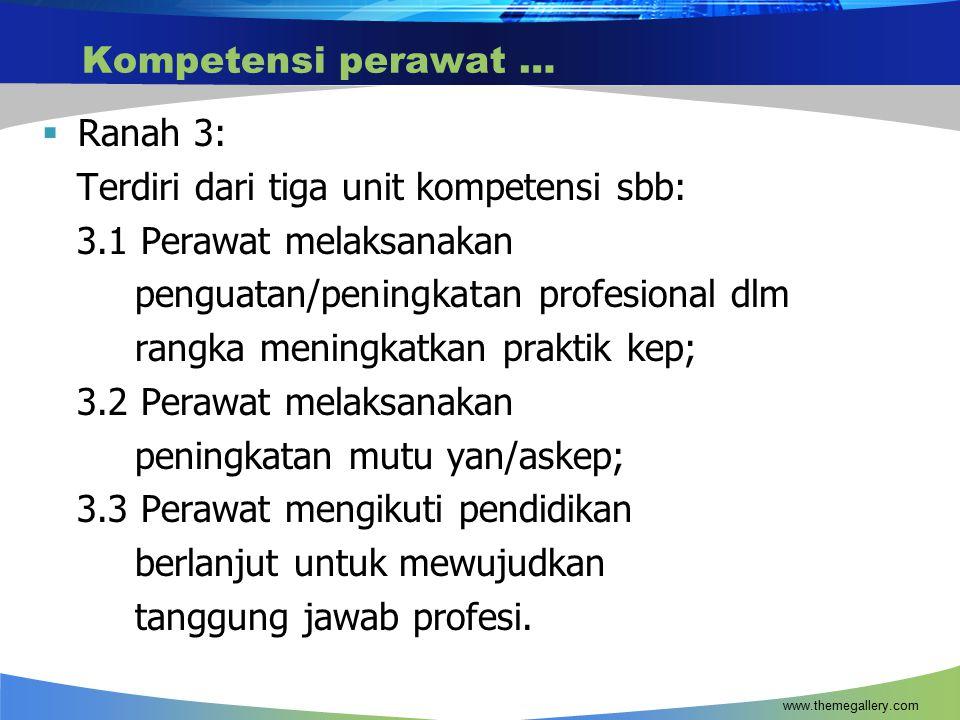 Terdiri dari tiga unit kompetensi sbb: 3.1 Perawat melaksanakan