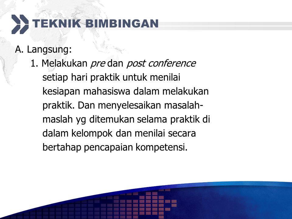 TEKNIK BIMBINGAN A. Langsung: 1. Melakukan pre dan post conference