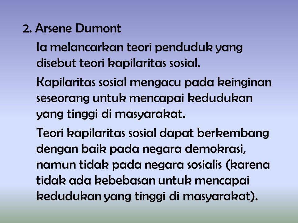 2. Arsene Dumont Ia melancarkan teori penduduk yang disebut teori kapilaritas sosial.