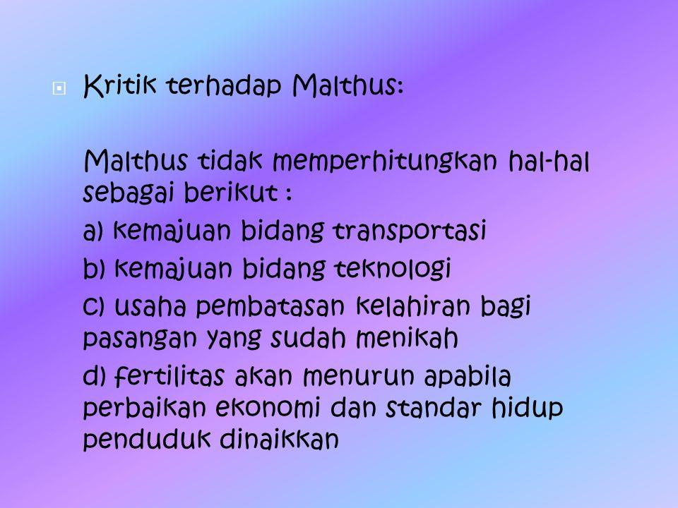 Kritik terhadap Malthus: