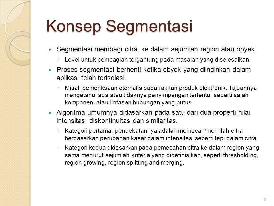 Konsep Segmentasi Segmentasi membagi citra ke dalam sejumlah region atau obyek. Level untuk pembagian tergantung pada masalah yang diselesaikan.