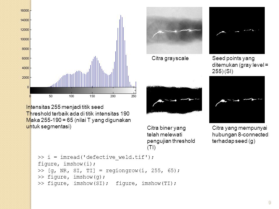 Citra grayscale Seed points yang ditemukan (gray level = 255) (SI) Intensitas 255 menjadi titik seed.