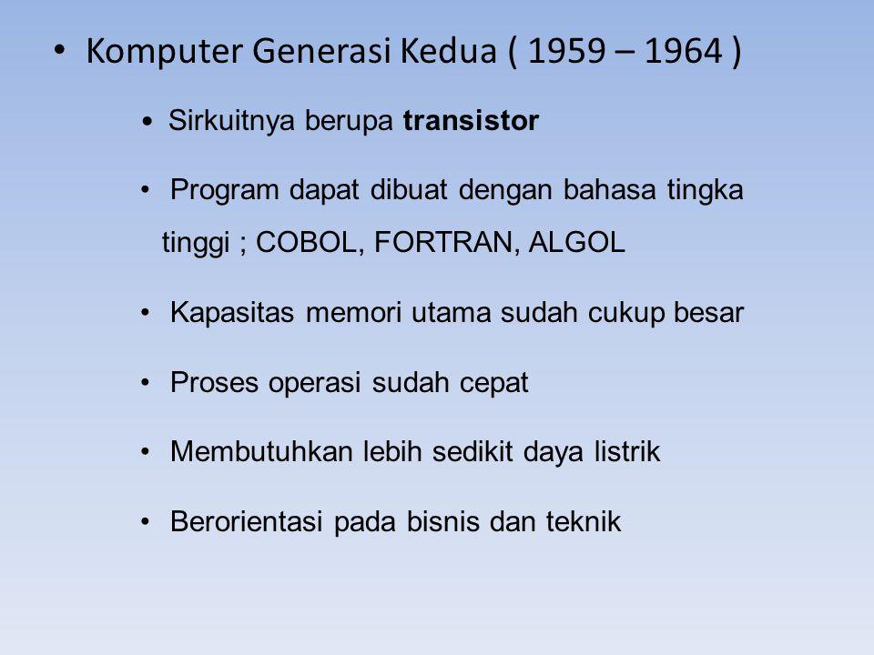 Komputer Generasi Kedua ( 1959 – 1964 )