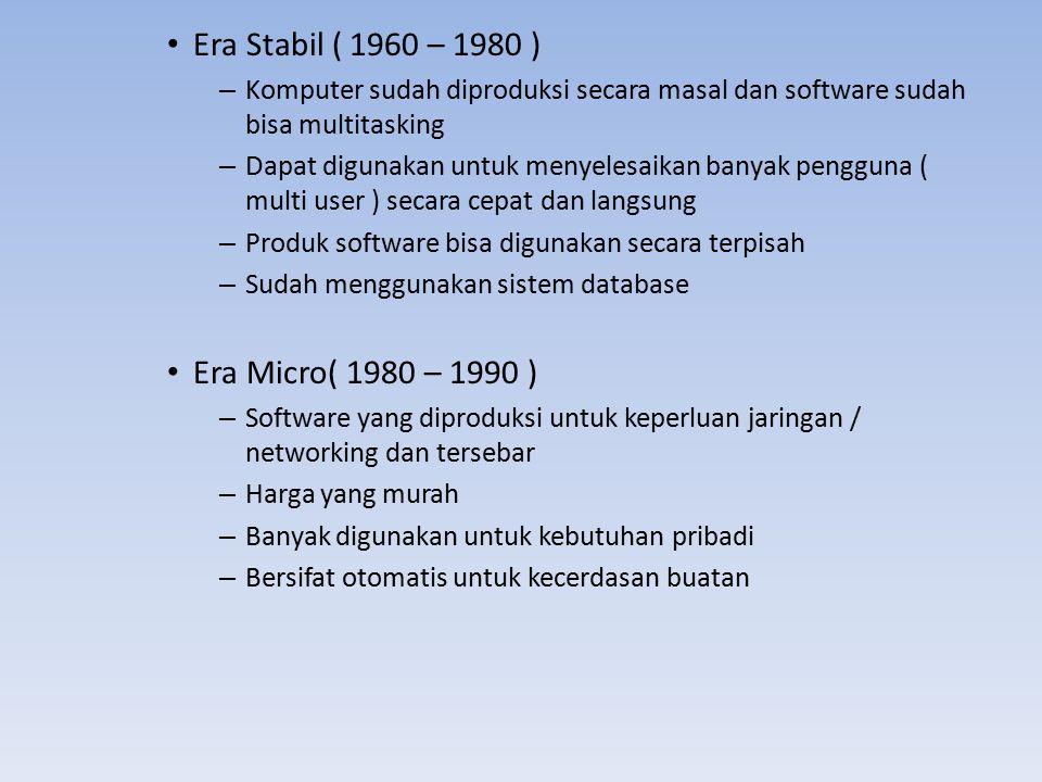 Era Stabil ( 1960 – 1980 ) Era Micro( 1980 – 1990 )