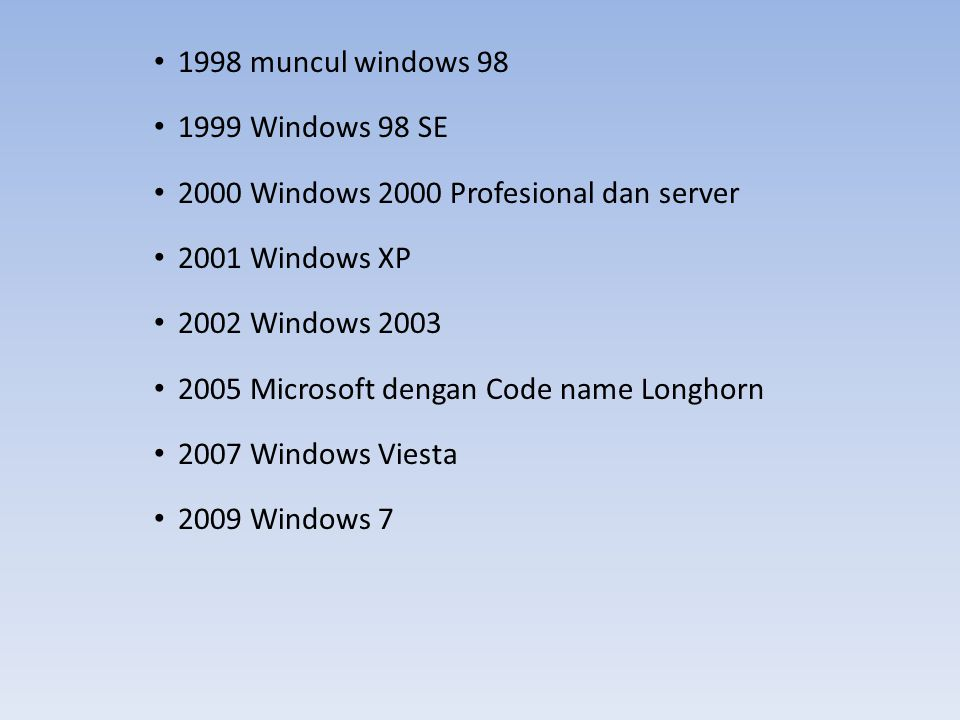 1998 muncul windows 98 1999 Windows 98 SE. 2000 Windows 2000 Profesional dan server. 2001 Windows XP.