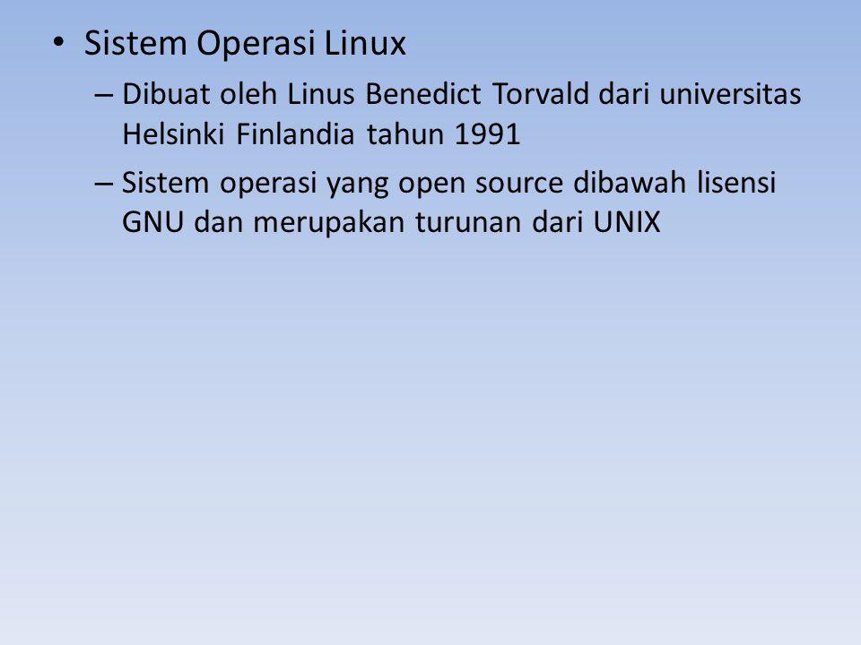 Sistem Operasi Linux Dibuat oleh Linus Benedict Torvald dari universitas Helsinki Finlandia tahun 1991.