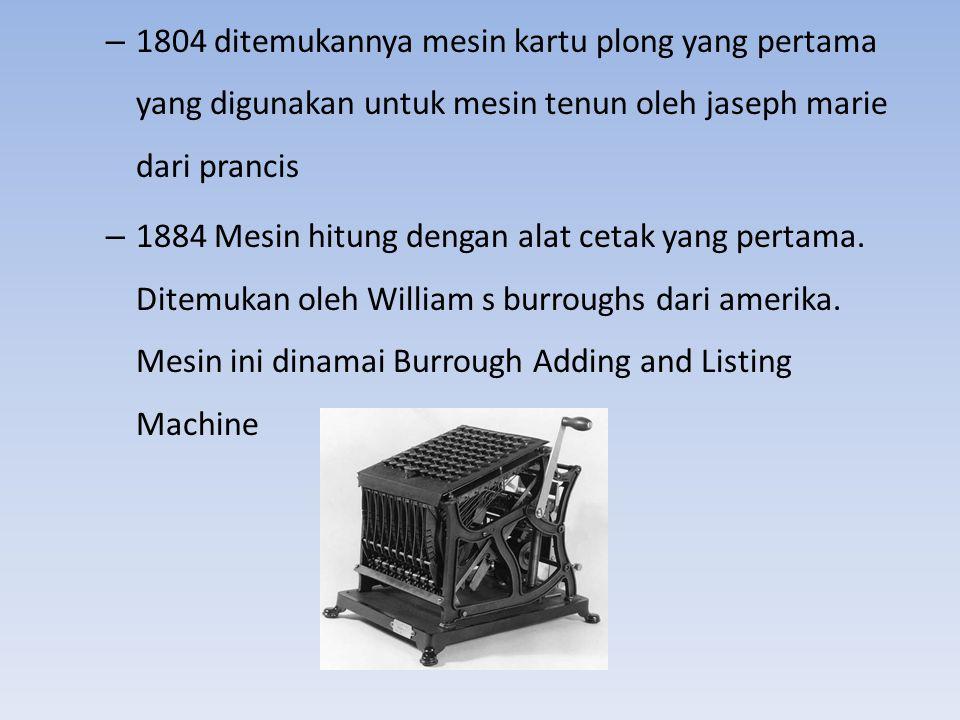 1804 ditemukannya mesin kartu plong yang pertama yang digunakan untuk mesin tenun oleh jaseph marie dari prancis